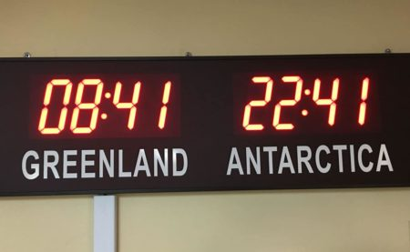 Times in Greenland and Antarctica